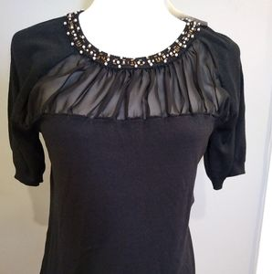 Cable & Gauge size L black blouse sheer NWT